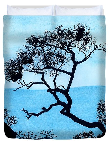 Duvet Cover featuring the drawing Blue Mountain by D Hackett