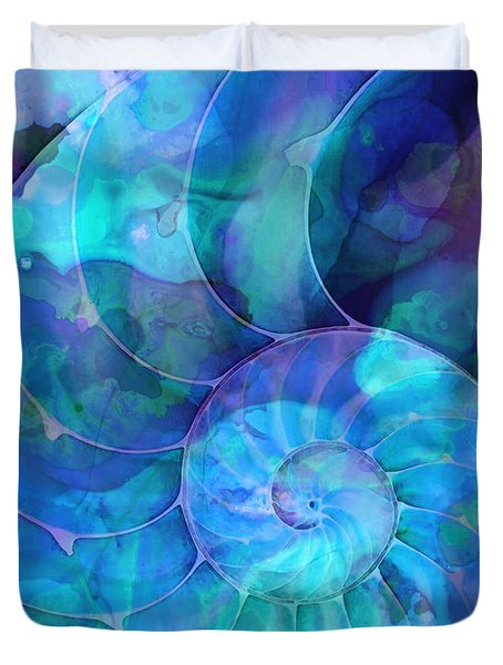 Blue Nautilus Shell By Sharon Cummings Duvet Cover