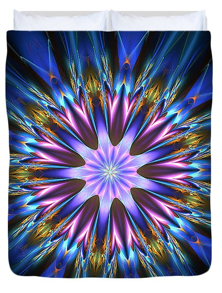 Blue Oomph Fractal Mandala Duvet Cover