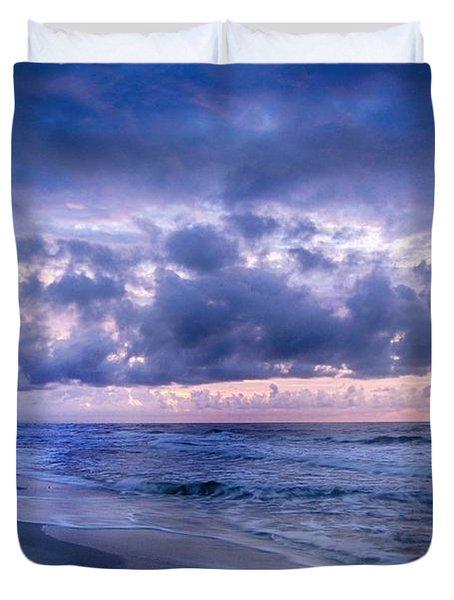 Duvet Cover featuring the digital art Blue Orange Beach by Michael Thomas