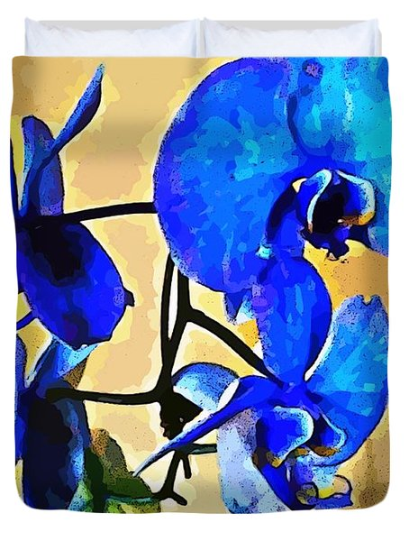 Duvet Cover featuring the photograph Blue Orchid  by Judy Palkimas