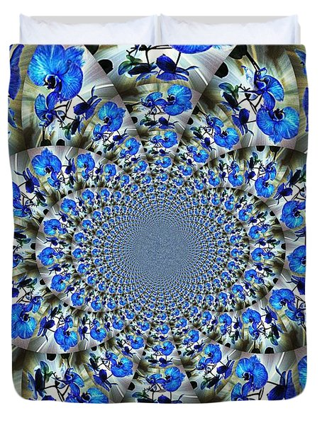 Duvet Cover featuring the photograph Blue Orchid Kaleidoscope by Judy Palkimas