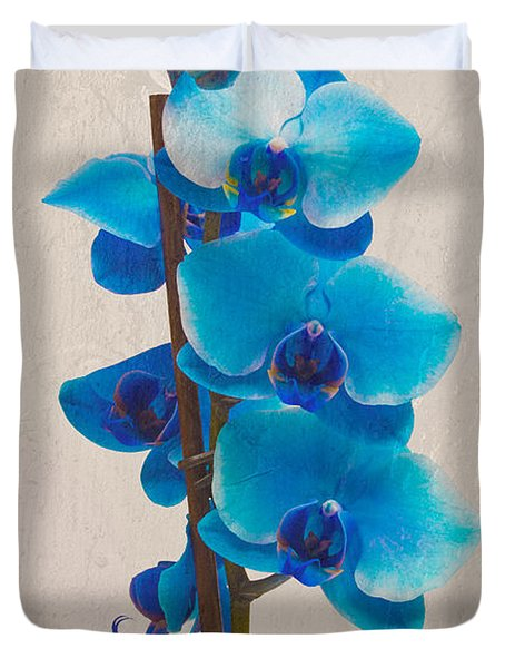 Blue Orchid Duvet Cover by Scott Carruthers