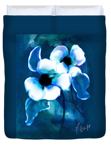 Duvet Cover featuring the digital art Blue Orchids  by Frank Bright