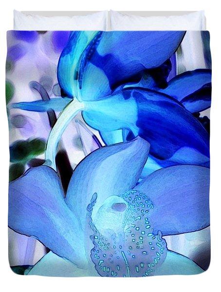 Blue Orchids Duvet Cover by Kathleen Struckle