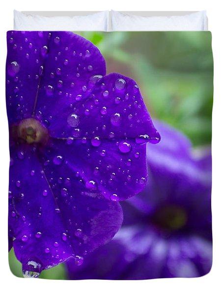 Blue Pansies After A Rain Duvet Cover