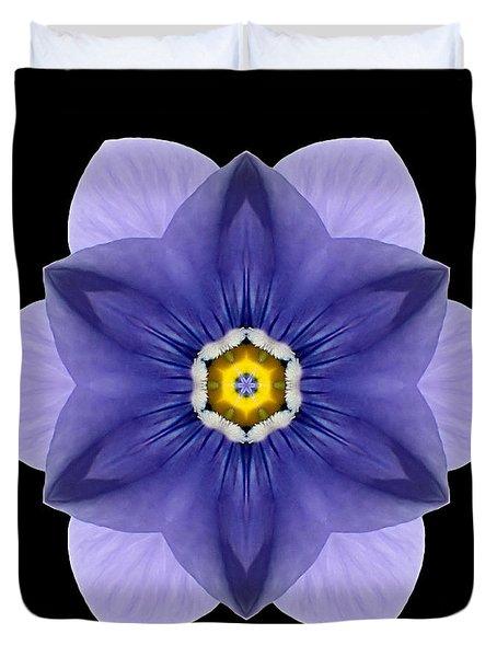 Blue Pansy I Flower Mandala Duvet Cover