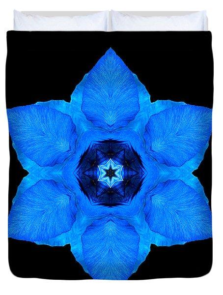 Blue Pansy II Flower Mandala Duvet Cover
