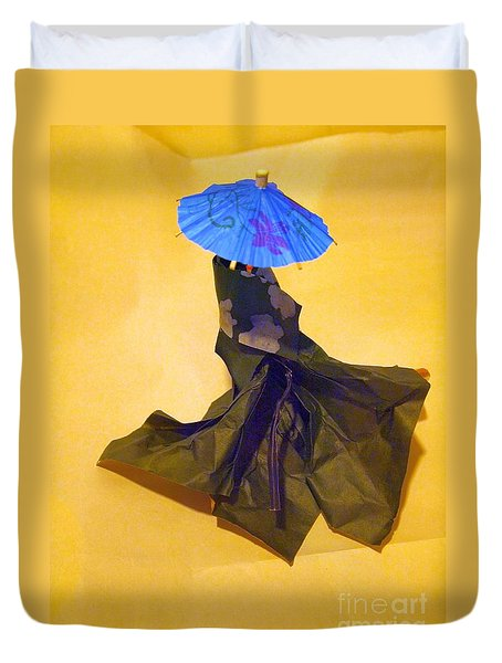 Duvet Cover featuring the painting Blue Parasol by Nancy Kane Chapman