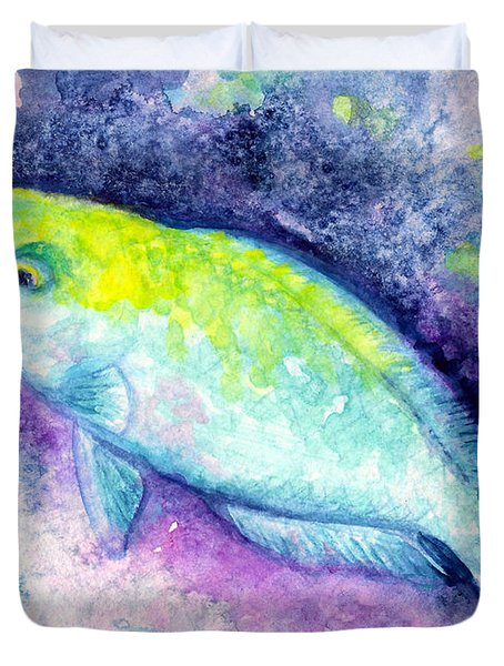 Blue Parrotfish Duvet Cover by Ashley Kujan
