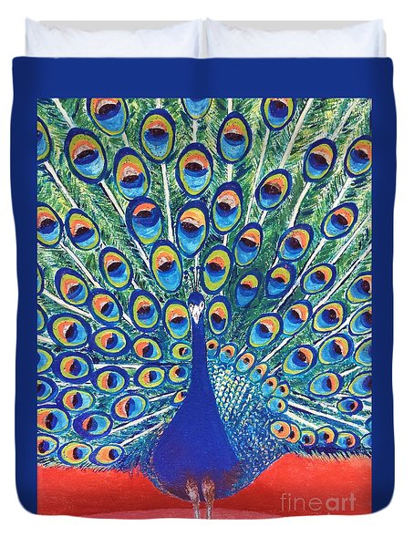 Duvet Cover featuring the painting Blue Peacock by Jasna Gopic