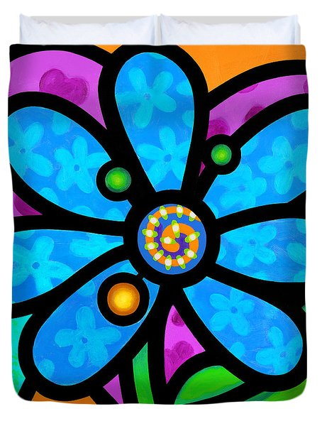Blue Pinwheel Daisy Duvet Cover