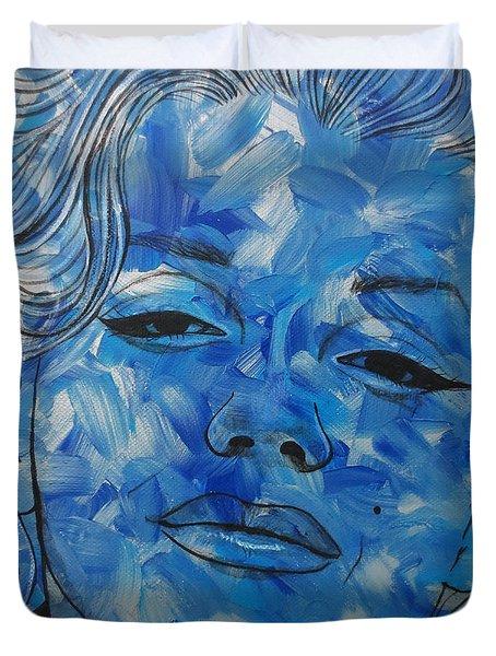 Blue Pop Marilyn Mini Duvet Cover by Malinda Prudhomme