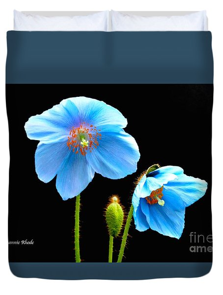 Blue Poppy Flowers # 4 Duvet Cover