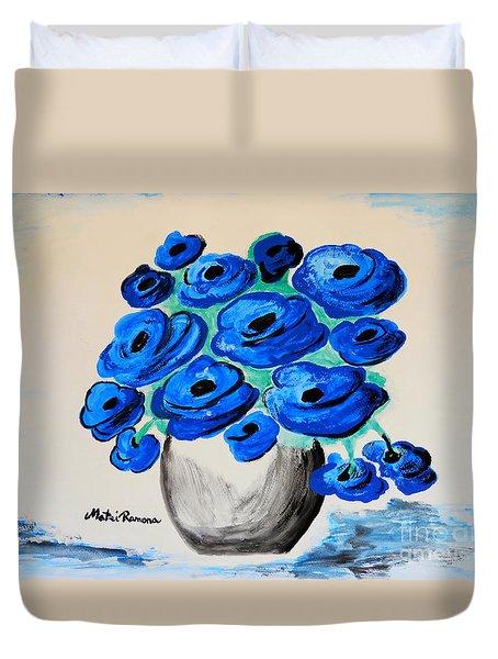 Blue Poppies Duvet Cover