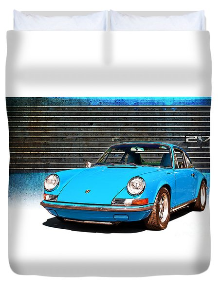 Blue Porsche 911 Duvet Cover