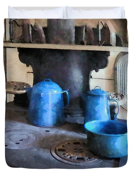 Blue Pots On Stove Duvet Cover by Susan Savad