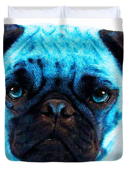 Blue - Pug Pop Art By Sharon Cummings Duvet Cover by Sharon Cummings
