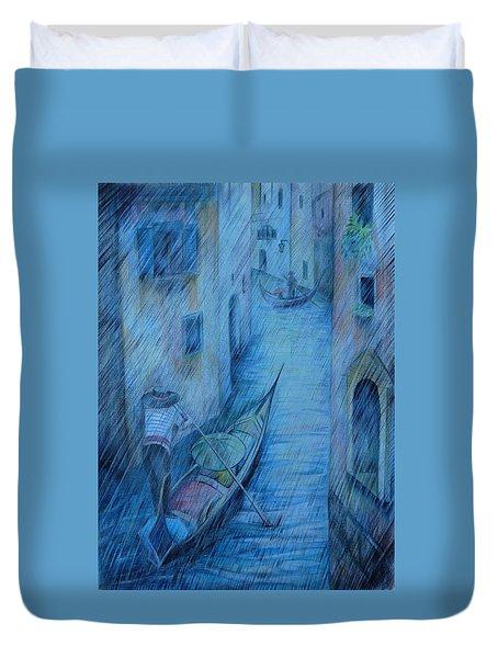 Blue Rain Of Venice Duvet Cover