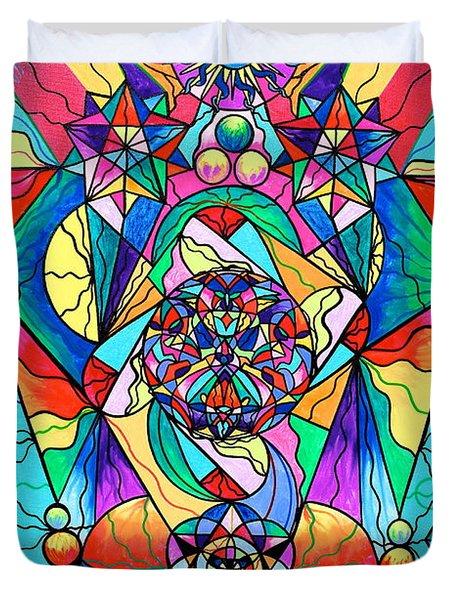Blue Ray Transcendence Grid Duvet Cover