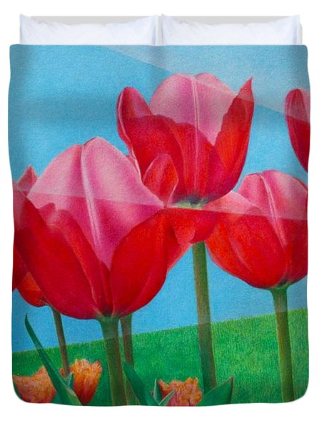 Duvet Cover featuring the painting Blue Ray Tulips by Pamela Clements