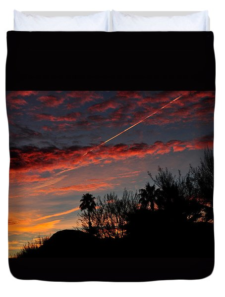 Blue Red And Gold Sunset With Streak Duvet Cover by Jay Milo