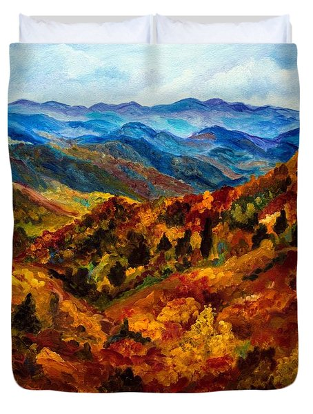 Blue Ridge Mountains In Fall II Duvet Cover by Julie Brugh Riffey