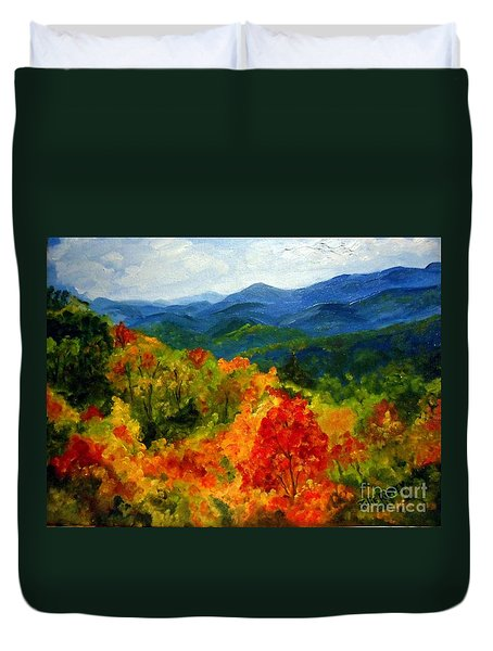 Blue Ridge Mountains In Fall Duvet Cover