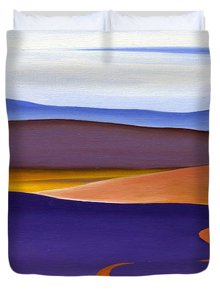 Blue Ridge Orange Mountains Sky And Road In Fall Duvet Cover by Catherine Twomey