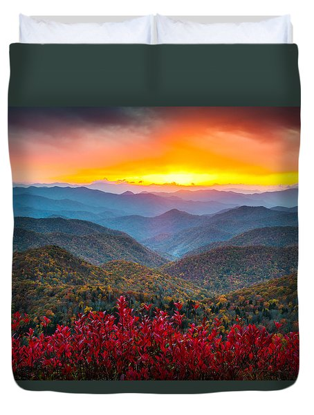 Blue Ridge Parkway Autumn Sunset Nc - Rapture Duvet Cover