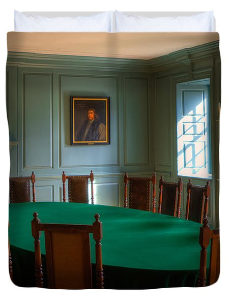 Duvet Cover featuring the photograph Blue Room 2 Wren Building by Jerry Gammon