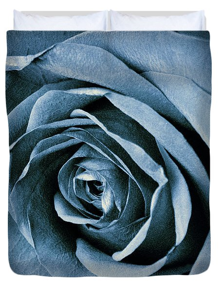 Duvet Cover featuring the photograph Blue Rose by Alana Ranney