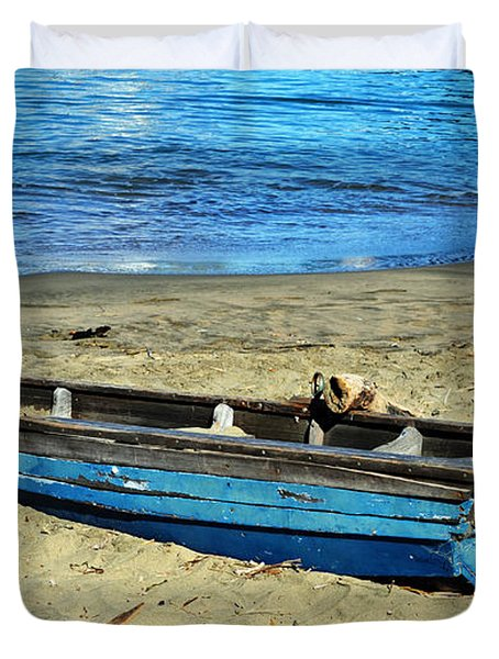 Blue Rowboat Duvet Cover by Holly Blunkall