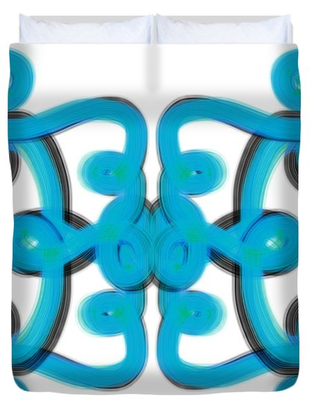 Duvet Cover featuring the digital art Blue Scroll Square by Christine Fournier