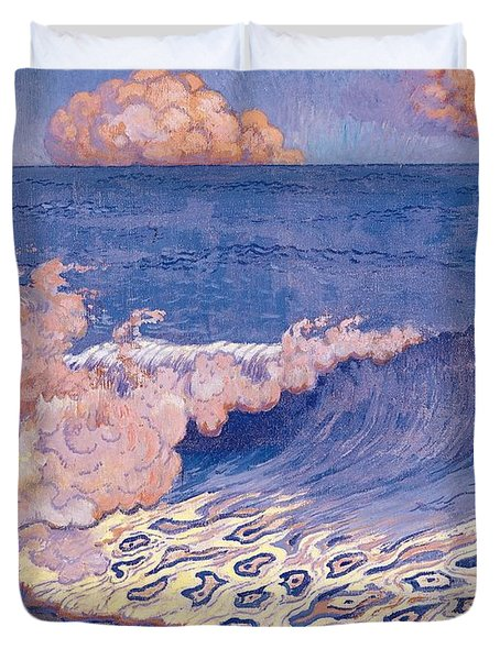 Blue Seascape Wave Effect Duvet Cover by Georges Lacombe