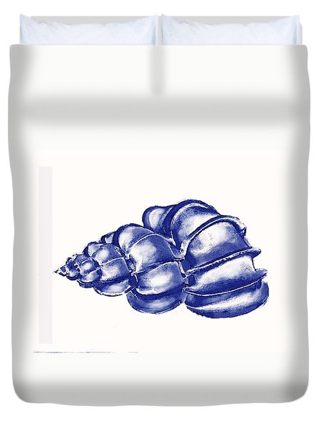 Duvet Cover featuring the digital art Blue Shell by Jane Schnetlage