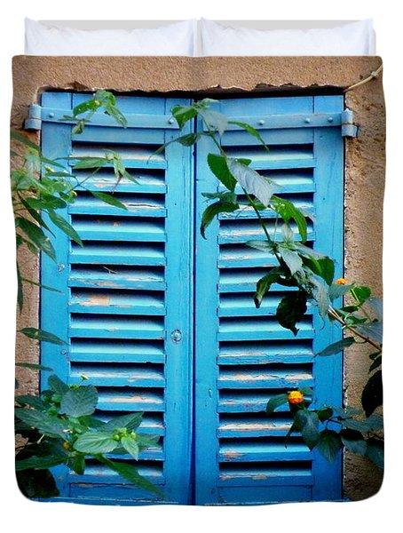 Blue Shuttered Window Duvet Cover