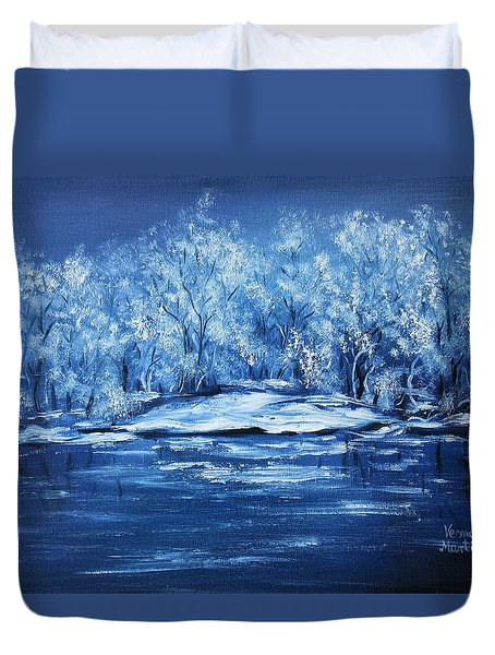 Duvet Cover featuring the painting Blue Silence by Vesna Martinjak