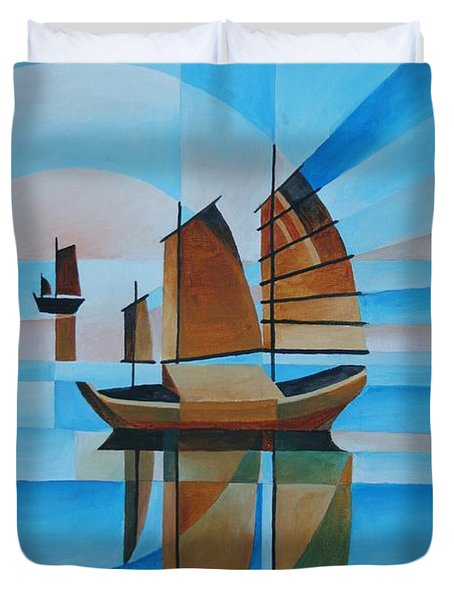 Duvet Cover featuring the painting Blue Skies And Cerulean Seas by Tracey Harrington-Simpson