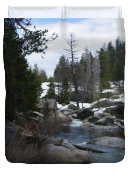 Duvet Cover featuring the photograph Blue Skies Of Winter by Bobbee Rickard