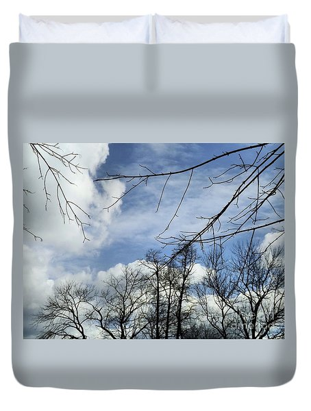 Duvet Cover featuring the photograph Blue Skies Of Winter by Robyn King