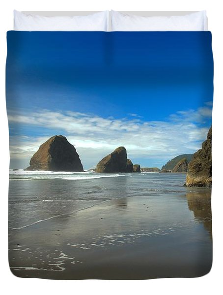 Blue Skies Over Meyers Beach Duvet Cover by Adam Jewell
