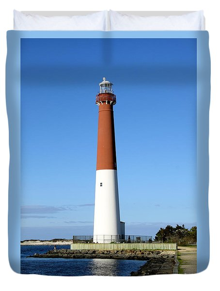 Blue Sky Blue Sea  And Barnegat Light Duvet Cover by Christiane Schulze Art And Photography