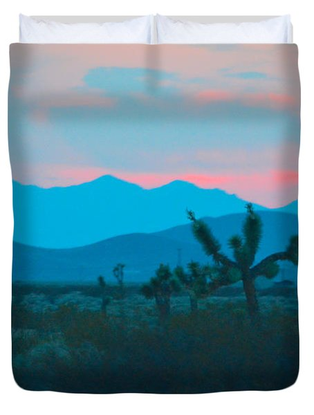Blue Sky Cacti Sunset Duvet Cover