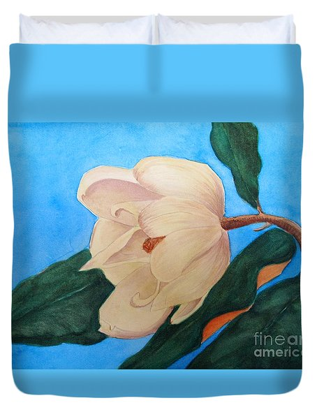 Duvet Cover featuring the painting Blue Sky Magnolia by Nancy Kane Chapman