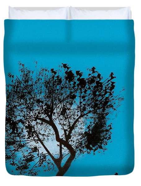 Duvet Cover featuring the drawing Blue Sky Moon by D Hackett