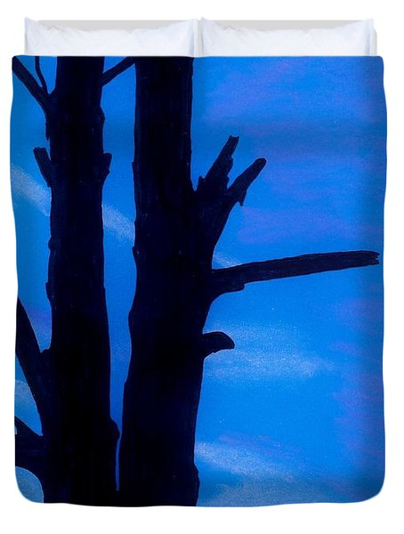 Duvet Cover featuring the drawing Blue Sky Tree by D Hackett