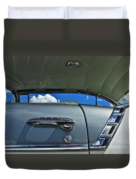 Duvet Cover featuring the photograph 1956 Chevy Bel Air by Linda Bianic