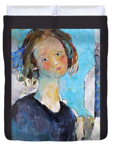 Blue Sonata Duvet Cover by Becky Kim
