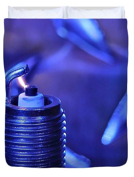 Blue Spark Duvet Cover